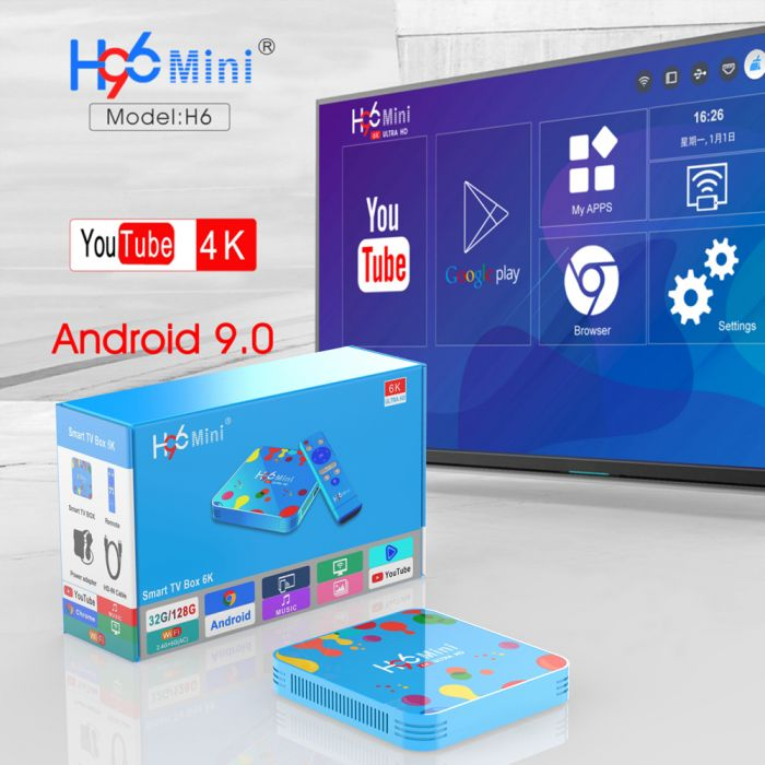 New 4GB RAM 32GB ROM H96Mini Android 9.0 TV Box Allwinner H6 QuadCore Dual Wifi 32GB MAX 6K Smart Media Player H96 Mini PK TX6
